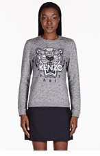 KENZO Grey Melange Embroidered Tiger Sweater for women