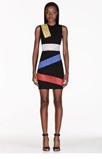 CHRISTOPHER KANE Black Colorblocked Stripe Cut-Out Dress for women