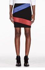 CHRISTOPHER KANE Black Diagonal Stripe Cut-Out Pencil Skirt for women