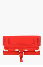 CHLOE Red Leather Marcie Long envelope Wallet for women