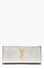 SAINT LAURENT Silver Leather Cassandre Clutch for women
