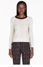 BAND OF OUTSIDERS Ivory Cableknit Raglan Sweater for women