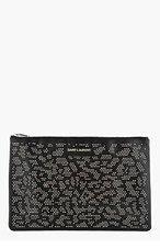 SAINT LAURENT Black Studded Leather Letters Zip Clutch for women
