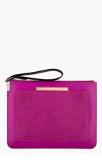 TIME'S ARROW Magenta leather snakeskin-embossed Ishi Wristlet clutch for women
