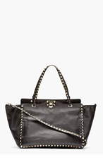 VALENTINO Black Leather Medium Rockstud Tote for women