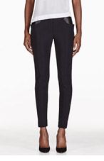 DION LEE Black Leather Panelled Trousers for women