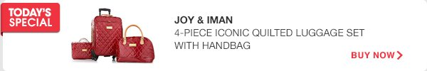 Joy & IMAN 4-PIECE ICONIC QUILTED LUGGAGE SET WITH HANDBAG - BUY NOW