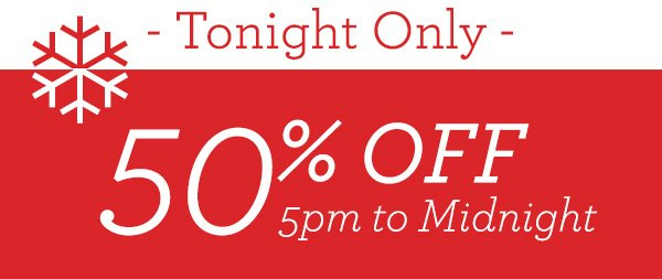 5PM 50% Off Sale!