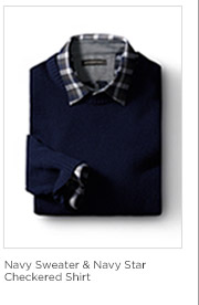Navy Sweater & Navy Star Checkered Shirt