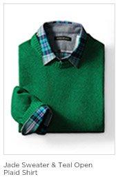 Jade Sweater & Teal Open Plaid Shirt