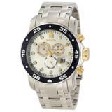 Invicta 10373 Men's Pro Diver Silver Dial Stainless Steel Chronograph Swiss Dive Watch