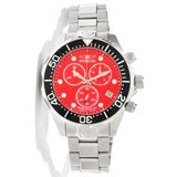 Invicta 11486 Men's Grand Diver Red Dial Stainless Steel Bracelet Chronograph Dive Watch