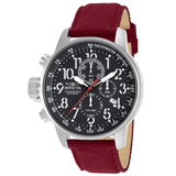 Invicta 11517 Men's I Force Lefty Black Dial Burgundy Canvas and Leather Strap Chronograph Stainless Steel Watch