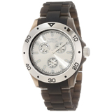 Invicta 1668 Men's Silver Dial Black Frosted Plastic Anatomic Bracelet Watch