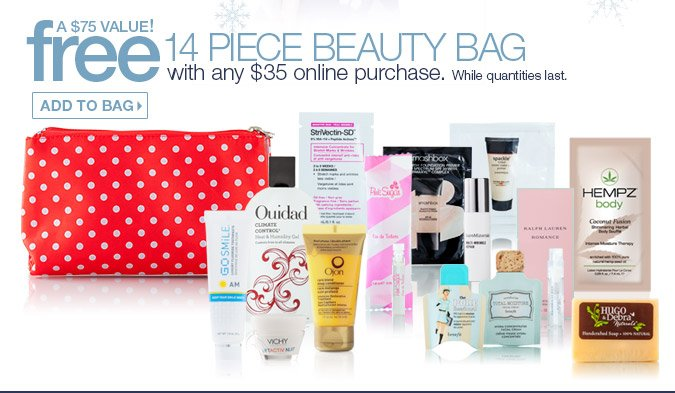 FREE 14 Piece Beauty Bag with any $35 Online Purchase