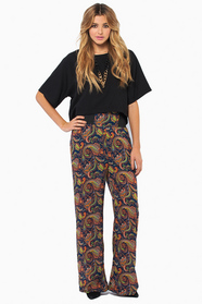 Paisley Print High Waisted Pants