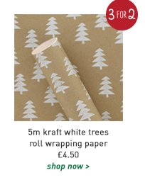 5m kraft white trees roll wrapping paper
