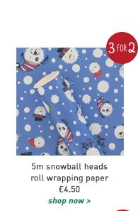 5m snowball heads roll wrapping paper