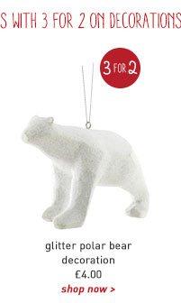 glitter polar bear decoration