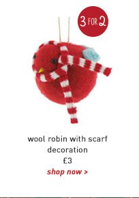 wool robin with scarf decoration