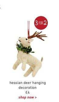 hessian deer hanging decoration