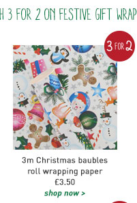 3m christmas baubles roll wrapping paper