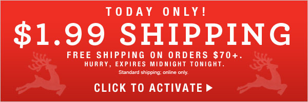 TODAY ONLY: $1.99 Standard Shipping Offer