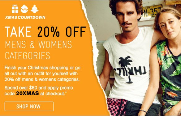 Take 20% Off Mens & Womens Categories
