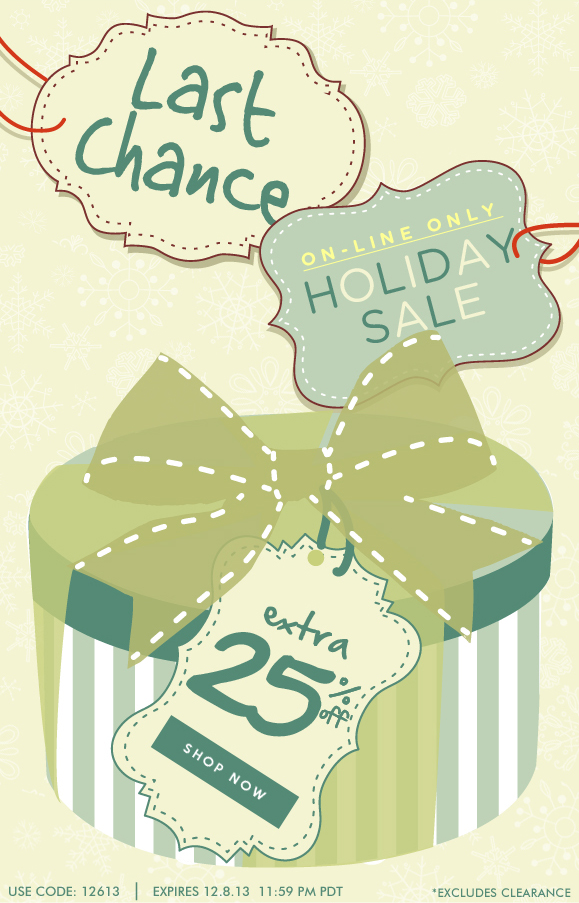 LAST CHANCE: On-line Only Holiday Sale! Use Code 12613 and Enjoy Extra 25% Off Your Order! Hurry, Shop Now and SAVE!