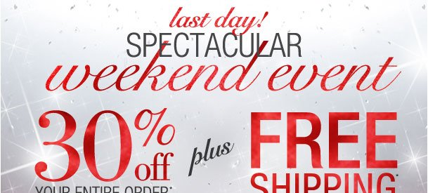 Spectacular weekend event! 30% off entire order w/ 2 items + free shipping! Use RDWEEKEND