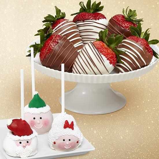 3 Christmas Cake Pops & Half Dozen Swizzled Strawberries