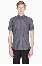 ALEXANDER MCQUEEN Black & White pinstripe button-down shirt for men