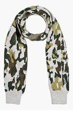 WHITE MOUNTAINEERING Grey & Green Knit Camo Scarf for men