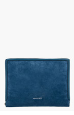 ALEXANDER MCQUEEN Blue Suede Heroic Document Case for men