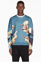 MSGM Teal Lipstick Toilet Paper Magazine Edition Sweater for men