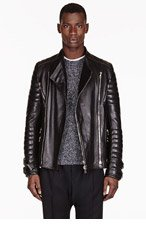 BALMAIN Black LEATHER ribbed Biker JACKET for men