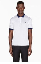 ALEXANDER MCQUEEN White & blue CONTRAST skull-embroidered POLO for men