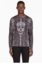 ALEXANDER MCQUEEN Black SKULL & snake PRINT long sleeve T-SHIRT for men