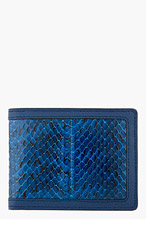ALEXANDER MCQUEEN Blue Snakeskin Money Clip Wallet for men