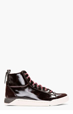 DIESEL Deep burgundy patent brushed Diamond high-tops for men