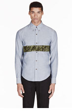BAND OF OUTSIDERS SSenSE EXCLUSIVE Blue chambray panel stripe shirt for men