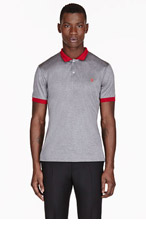ALEXANDER MCQUEEN Grey & red CONTRAST skull-embroidered POLO for men