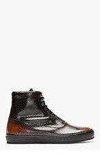 ALEXANDER MCQUEEN Black Punch-Hole High-Top Zip Sneakers for men