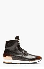 ALEXANDER MCQUEEN Black Punch-Hole High-Top Sneakers for men