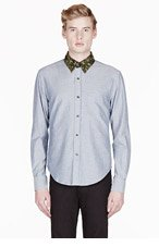 BAND OF OUTSIDERS SSENSE EXCLUSIVE Blue chambray camo-trimmed shirt for men
