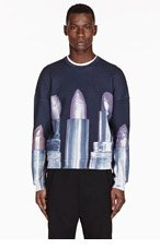 MSGM Navy Lipstick Toilet Paper Magazine Edition Sweater for men