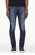 DIESEL BLUE RIPPED THAVAR JEANS for men