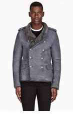 BALMAIN Grey Military SHEARLING COAT for men