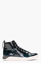DIESEL Deep green patent brushed Diamond high-tops for men