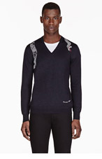 ALEXANDER MCQUEEN Navy wool & silk SNAKE EMBROIDERY sweater for men
